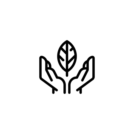 Vector hands holding leaf icon template. Line friendly environment symbol for local farmers market, healthy natural products, bio business. Organic eco illustration background