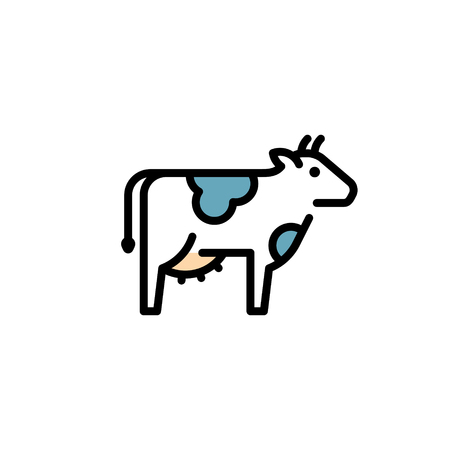 Vector cow icon template. Line farm cattle symbol illustration. Organic natural food for diary eco products, farmers market Ilustração