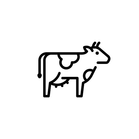 Vector cow icon template. Organic natural food for diary eco products, farmers market. Line farm cattle symbol illustration