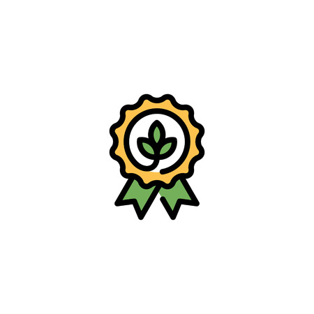 Vector eco organic icon template. Line natural badge with green leaves and ribbon. Farm food, raw, vegan label for local farmers market, healthy goods, premium quality products, bio business Illustration
