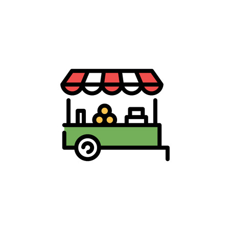 Vector farmers market stall icon template. Line fruit and vegetable shop symbol illustration. Local farm food stand background. Flat greengrocer store business with organic eco bio products