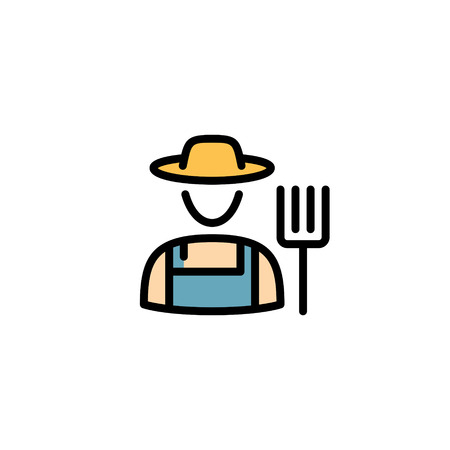 Vector farmer icon template. Line granger in hat illustration. Color flat symbol of farming man with a pitchfork. Local farm village worker on background Ilustração