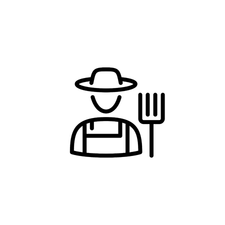 Vector farmer icon template. Flat symbol of farming man with a pitchfork. Line granger in hat illustration. Local farm village worker on background