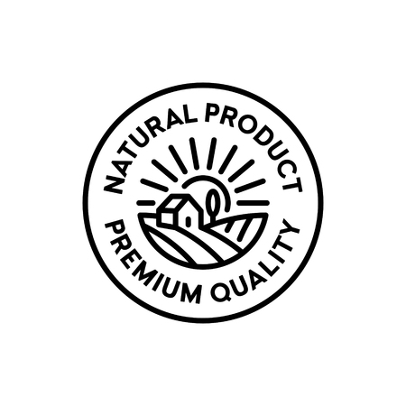 Vector natural product icon label. Organic, farm food, raw, vegan, eco emblem for local farmers market, healthy goods, bio business. Line premium quality badge with field, house, sun, tree
