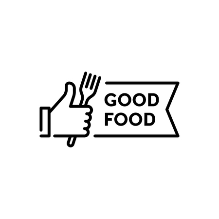 Vector hand like icon template. Good food illustration with fork sign. Line symbol for farmers market, cafe, restaurant, catering, cooking business. Thumbs up sign for healthy natural products