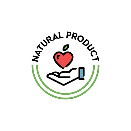 Vector natural product icon label. Line love badge with hand and fruit heart sign. Organic, farm food, raw, vegan, eco emblem for local farmers market, healthy goods, bio business