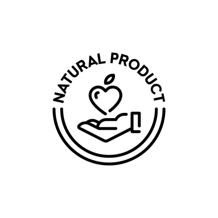 Vector natural product icon label. Organic, farm food, raw, vegan, eco emblem for local farmers market, healthy goods, bio business. Line love badge with hand and fruit heart sign Illustration