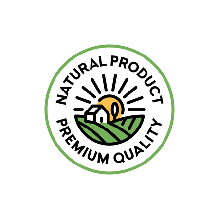 Vector natural product icon label. Line premium quality badge with field, house, sun, tree. Organic, farm food, raw, vegan, eco emblem for local farmers market, healthy goods, bio business