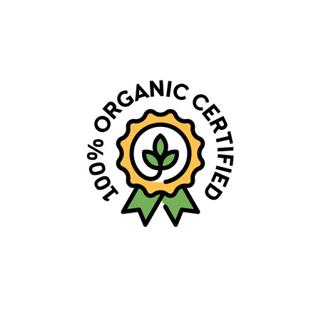 Vector 100 organic certified icon template. Line natural badge with green leaves and ribbon. Farm food, vegan label for local farmers market, healthy goods, premium quality products, bio business