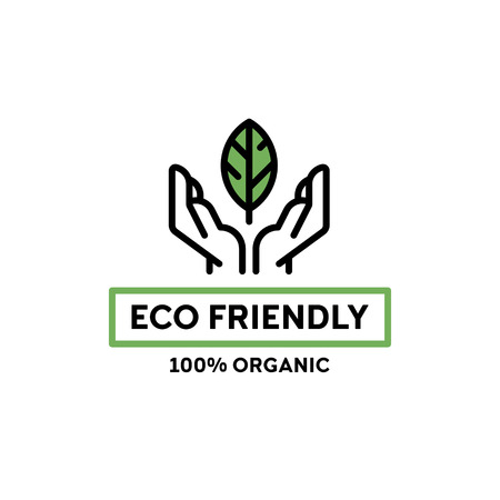 Vector eco friendly icon template. 100 organic illustration background with hands and leaf. Line premium quality label for local farmers market, healthy natural products, bio business