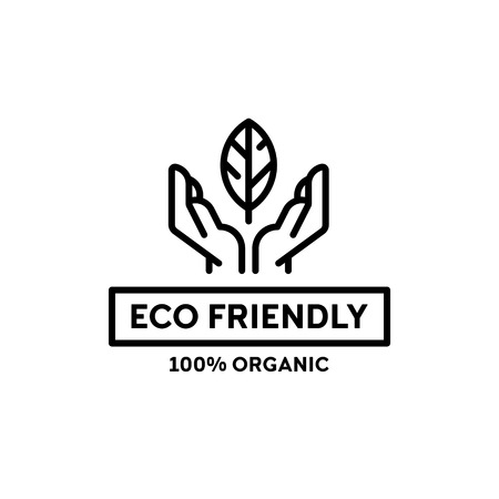 Vector eco friendly icon template. 100 organic label illustration background with hands and leaf. Line premium quality for local farmers market, healthy natural products, bio business