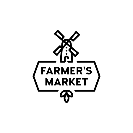 Vector farmers market template. Outline wind mill icon illustration with green leaves. Agriculture label background for local farmer market, healthy natural products, bio business