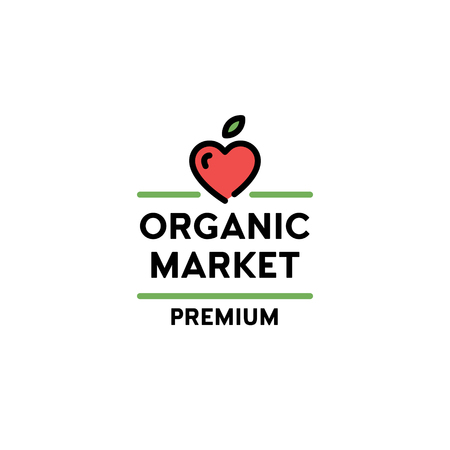 Vector organic market premium icon template. Line love symbol with fruit heart and green leaf sign. Farm food, raw, vegan, eco friendly label for local farmers, healthy bio goods