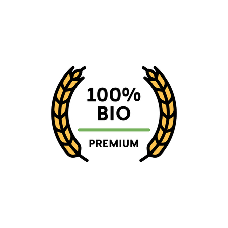 Vector 100 percent bio icon template. Line premium quality symbol with wheat ears wreath. Organic, farm food, raw, vegan, eco friendly label for local farmers market, healthy natural goods Ilustração