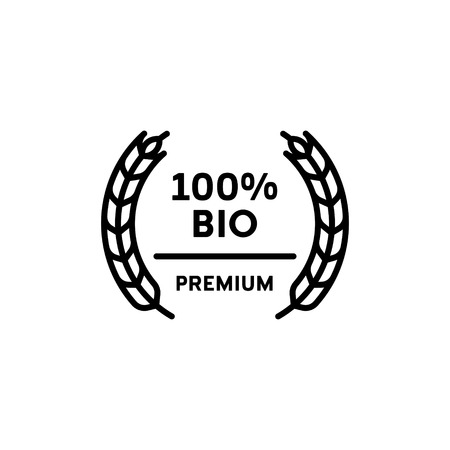 Vector 100 percent bio icon template. Line premium quality  symbol with wheat ears wreath. Organic, farm food, raw, vegan, eco friendly label for local farmers market, healthy natural goods