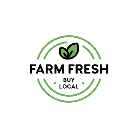 Vector farm fresh icon template. Line label badge with green leaves. Buy local  illustration. Organic food, raw, vegan, eco label for farmer market, healthy natural products, bio goods Ilustração
