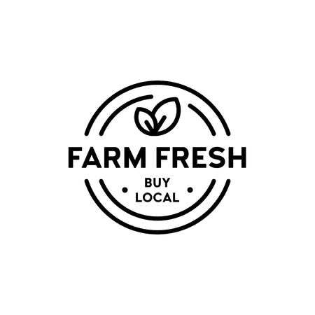 Vector farm fresh icon template. Buy local  illustration. Line label badge with green leaves. Organic food, raw, vegan, eco label for farmer market, healthy natural products, bio goods