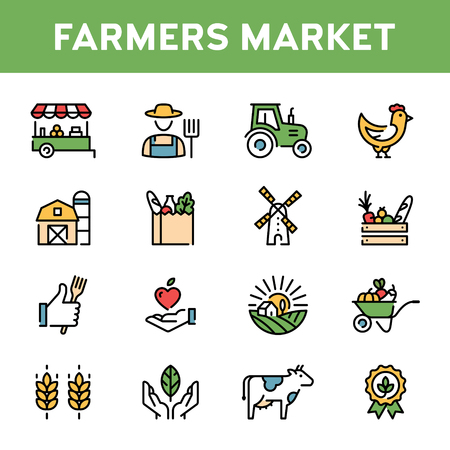 Vector farmers market icon set. Organic farming pictogram illustration in line style. Modern agriculture  symbol collection. Eco, bio, natural signs for local food shop, healthy fresh products 向量圖像