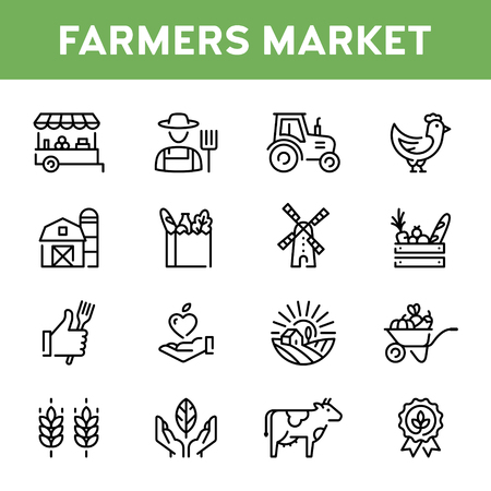 Vector farmers market icon set. Modern agriculture  symbol collection. Organic farming pictogram illustration in line style. Eco, bio, natural signs for local food shop, healthy fresh products