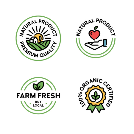 Vector natural product icon label set. Line premium quality  badges with green leaves. 100 percent organic certified. Farm fresh, buy local. Eco bio food emblems for farmers market, healthy goods