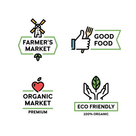 Vector organic farmers food label set. Good food  with hand like. Line windmill symbol illustration. 100 organic icon with leaf. Farm, eco friendly badges for local market, healthy bio goods Illustration