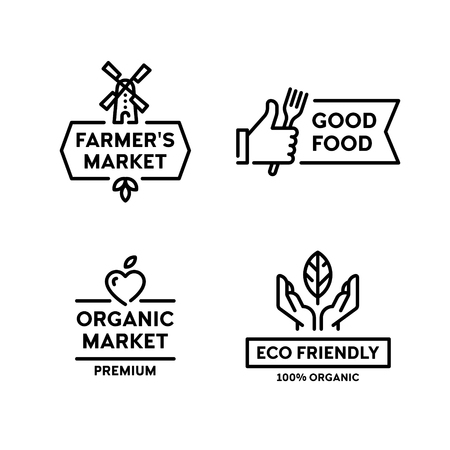Vector organic farmers food label set. Good food  with hand like. 100 organic icon with leaf. Line windmill symbol illustration. Farm, eco friendly badges for local market, healthy bio goods