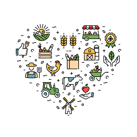 Farmers market icon design set. Organic farming pictogram illustration in line style. Vector agriculture  collection in heart form. Eco, bio, natural signs for food shop, healthy fresh products