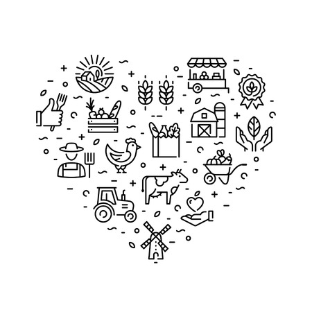 Farmers market icon design set. Vector agriculture  collection in heart form. Organic farming pictogram illustration in line style. Eco, bio, natural signs for food shop, healthy fresh products