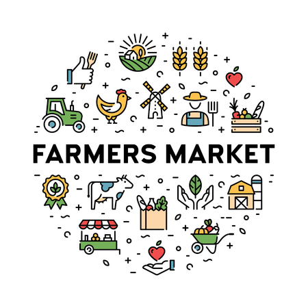 Farmers market icon design set. Organic farming pictogram illustration in line style. Vector agriculture  collection in circle form. Eco, bio, natural signs for food shop, healthy fresh products