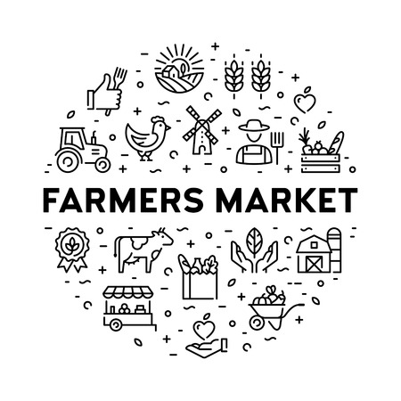 Farmers market icon design set. Vector agriculture  collection in circle form. Organic farming pictogram illustration in line style. Eco, bio, natural signs for food shop, healthy fresh products Ilustração