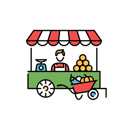 Vector farmers market stall icon template. Line fruit and vegetable shop symbol illustration. Local farm food stand  background. Flat greengrocer store business with organic eco bio products Ilustração