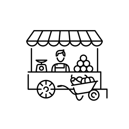 Vector farmers market stall icon template. Local farm food stand  background. Line fruit and vegetable shop symbol illustration. Flat greengrocer store business with organic eco bio products