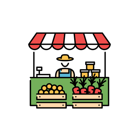 Farmers market stall icon template. Vector line fruit and vegetable shop symbol illustration. Local farm food stand  background with farmer. Greengrocer store business with organic eco products Ilustração