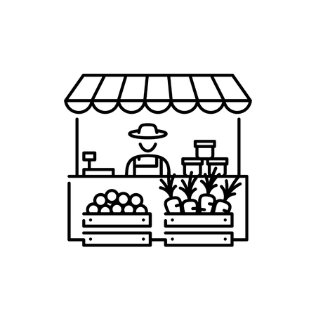 Farmers market stall icon template. Local farm food stand  background with farmer. Vector line fruit and vegetable shop symbol illustration. Greengrocer store business with organic eco products