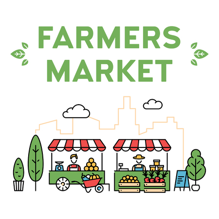 Vector farmers market illustration. Line fruit and vegetable shop banner template. Local farm food stand background. Flat greengrocer store business with organic eco bio products Illustration