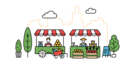 Vector farmers market illustration. Local farm food stand background. Flat fruit and vegetable shop banner template. Line greengrocer store business with organic eco bio products Ilustração