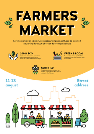 Vector farmers market poster illustration. Local farm event flyer background with place for text. City food festival with organic eco products. Line healthy fruit and vegetable shop banner template