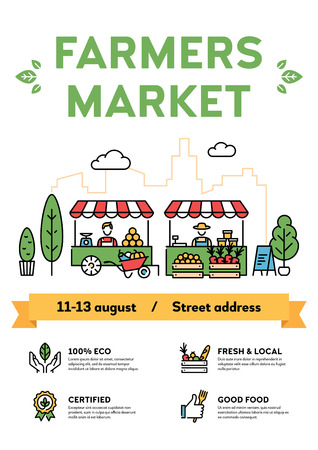 Farmers market poster illustration. Vector local farm event background with place for text. City food festival with organic eco products. Line healthy fruit and vegetable shop banner template