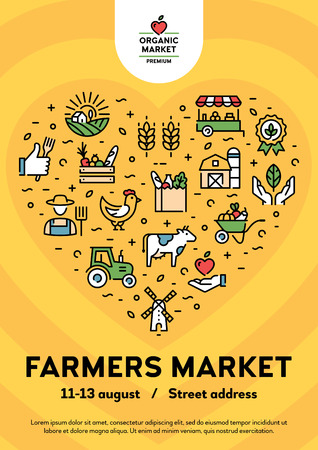 Vector farmers market poster illustration. Local farm event flyer background with place for text. Line fruit and vegetable shop banner template with heart. City food festival with organic products Ilustração