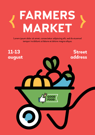 Vector farmers market poster illustration. Local farm event flyer background with wheelbarrow  and place for text. Line fruit and vegetable shop banner template. Food festival with organic products Ilustração