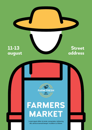 Farmers market poster illustration. Vector farm event flyer background with farmer and place for text. Line fruit and vegetable shop banner template. Local food festival with organic products