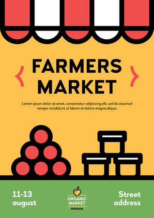 Vector farmers market poster illustration. Farm event flyer background with stall and place for text. Line fruit and vegetable shop banner template. Food festival with honey and other organic products