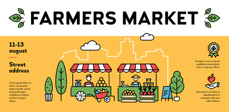 Vector farmers market poster illustration. City food festival banner with organic eco products. Local farm event flyer background with place for text. Line healthy fruit and vegetable shop template
