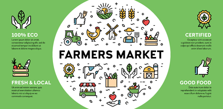 Vector farmers market icon illustration. Local farm banner with place for text. Eco, natural, certified  signs for organic farming, food shop, healthy fresh products. Agriculture background design Illustration