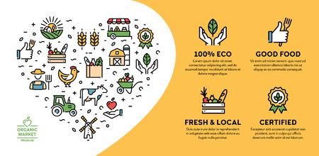 Farmers market icon illustration. Vector local farm banner with place for text. Agriculture background design. Eco, natural, certified  signs for organic farming, food shop, healthy fresh products