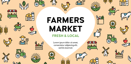 Vector farmers market icon set. Local farm banner with heart and place for text. Agriculture background illustration. Eco natural  signs for organic farming, food shop, healthy fresh products