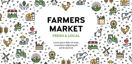 Vector farmers market icon set. Eco natural  signs for organic farming, food shop, healthy fresh products. Local farm banner with heart and place for text. Agriculture background illustration
