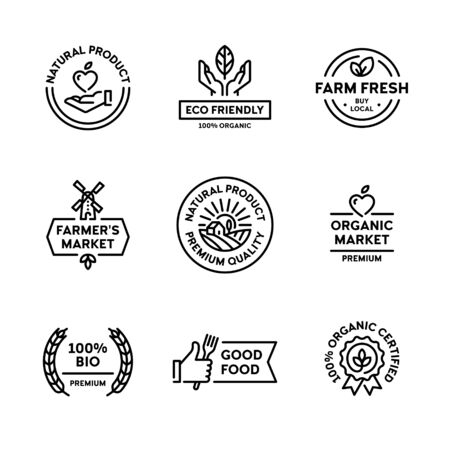 Natural product icon label set. Vector premium quality  badges with green leaves. 100 percent organic certified. Farm fresh, eco friendly. Bio food emblems for healthy goods, farmers market