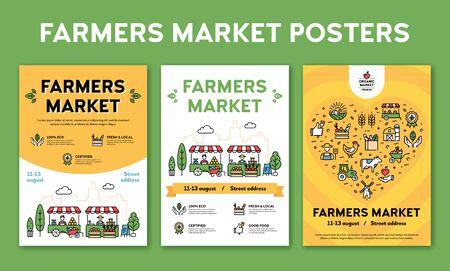 Bauernmarkt-Design-Plakat-Set. Vector lokale Bauernhofereignishintergründe mit Platz für Text. City Food Festival Illustrationen mit Bio-Produkten. Linie gesunde Obst- und Gemüseladen-Banner-Vorlage