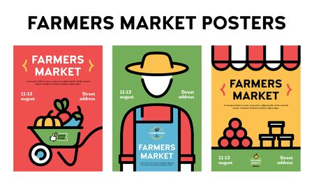 Vector farmers market poster illustration set. Farm event flyer backgrounds with place for text. Line fruit and vegetable shop banner templates. Food festival flyers with farmer, organic products Illustration